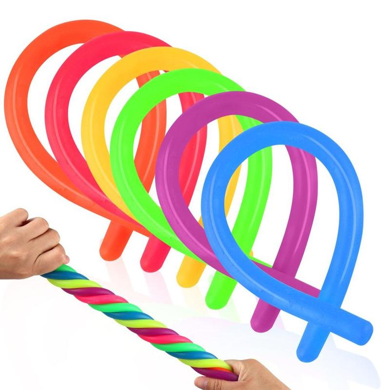 Children Adult TPR Rope Decompression Toy Luminous Noodle Stretch String Anti Stress String Fidget Autism Vent Elastic Toys