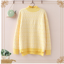 2020 Spring New knitted Sweater Women Pullover Korean Fashion Half Turtleneck Long Sleeve Loose Sweater Jumpers Ladies Tops Tide korean autumn new feminine knitted sweater fashion lace up sweater woman tops long sleeve shein pullover knitted tops 10i
