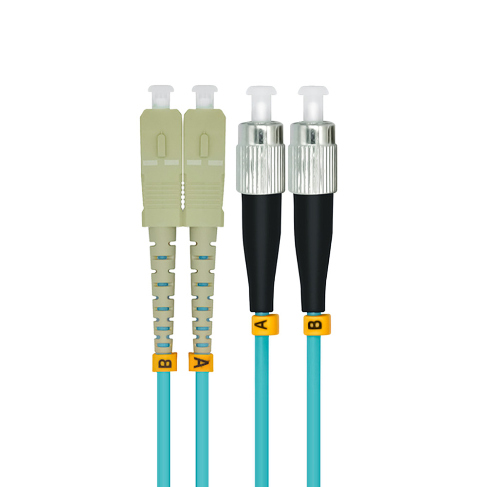 Indoor Armored 15 Meters SC-FC Duplex 10 Gigabit 50/125 Multi-mode Fiber Optical Cable OM3 Aqua 10GB SC To FC Patch Cord Jumper