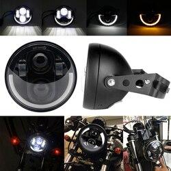 """5.75 """"Angel Eye DRL reflektor motocyklowy dla Harley Sportsters XG XR VRSCD dla Dyna projektor led czarny chrom okrągły reflektor na"""