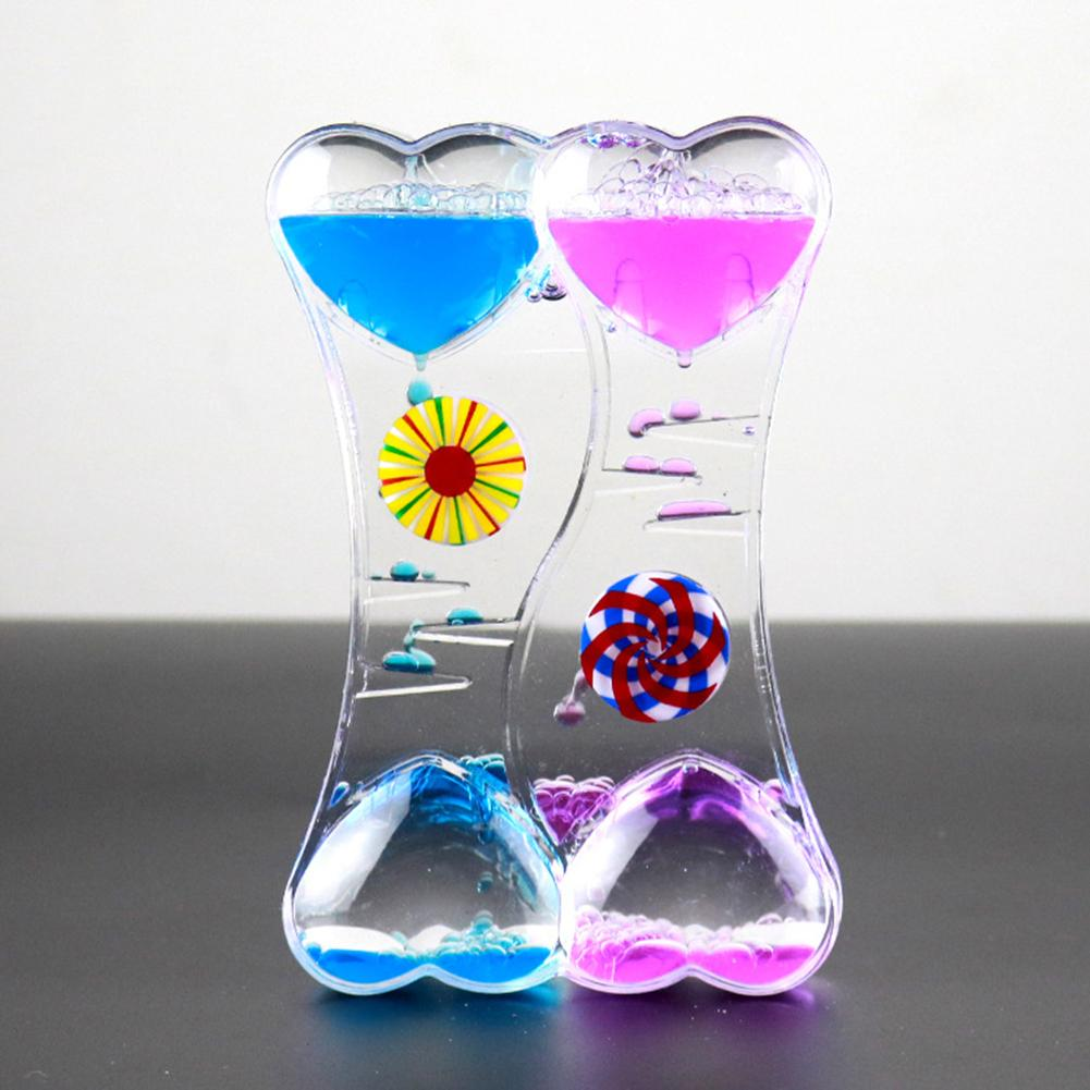 Hot Sale Kid Toys Double Heart Floating Liquid Motion Bubble Drip Oil Hourglass Timer Clock Kids Gifts Visual Movement Hourglass(China)