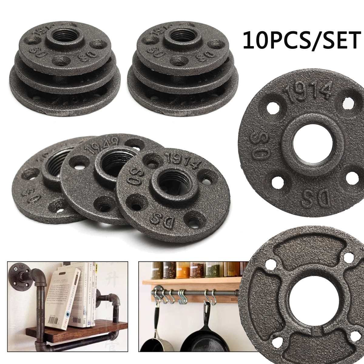 """10Pcs 1/2"""" 3/4"""" 1'' Black Decorative Malleable Iron Floor/Wall Flange Malleable Cast Iron Pipe Fittings BSP Threaded Hole"""