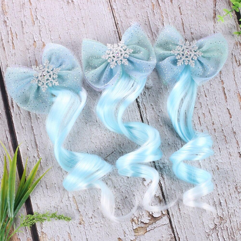 Princess Girls Snowflake Hair Clips For Hair Baby Blue Wig Pigtail Ribbon Yarn Hair Bows Hairpins Barrettes Hair Accessories