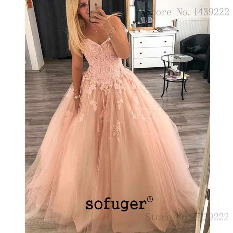 Peach Tulle Girl Evening Dresses Prom Lace Appliques Sweetheart Long Arabic Muslim Special Occasion Robe De Soiree Plus Size