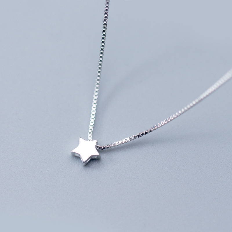 HF JEL Statement S925 Sterling Silver Star Charm Pendant Necklaces for Women Small Choker Necklaces Fashion Jewely Accessories