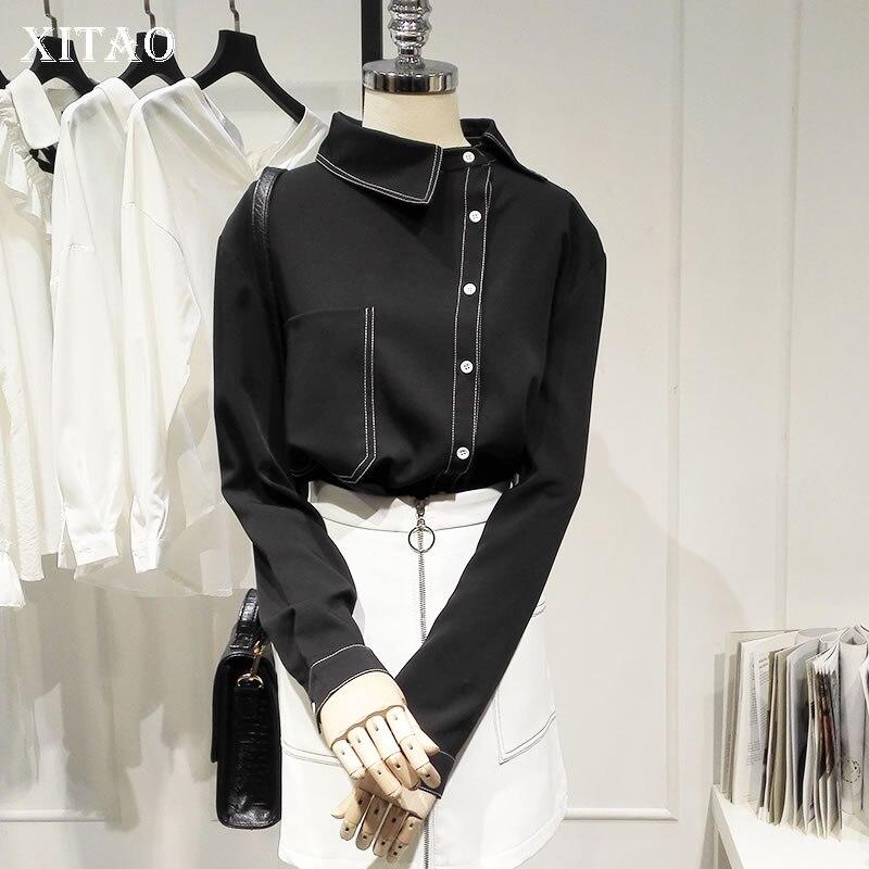 XITAO Match All Elegant Black Shirt Fashionable Skew Collar Irregular Pocket Blouse Top Clothes 2019 Autumn Korean New WLD2300