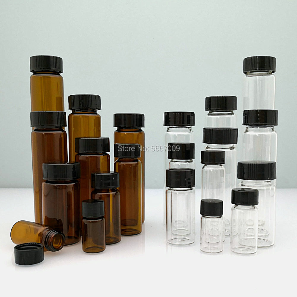 20pcs/lot 3ml 5ml 10ml 15ml <font><b>20ml</b></font> 30ml 40ml 50ml (Clear/ brown) <font><b>Glass</b></font> Seal <font><b>Bottle</b></font> Reagent Sample <font><b>Vials</b></font> <font><b>With</b></font> Plastic Lid <font><b>Screw</b></font> <font><b>Cap</b></font> image