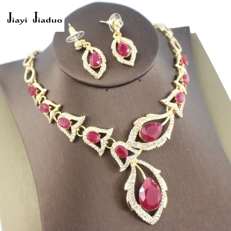 Necklace Earrings Jewelry-Set Dubai Gold-Color Women's Inlay Jiayijiaduo Red Resin