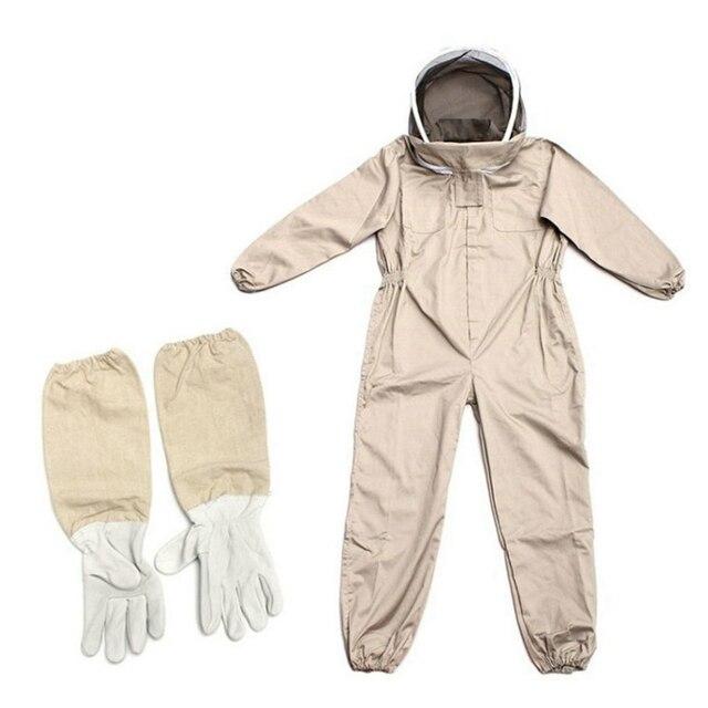 Abelha de apicultura de corpo inteiro ventilada profissional que mantém o terno com luvas de couro