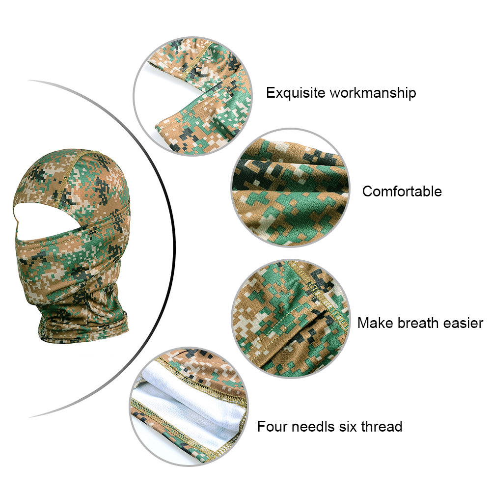 Image 2 - Camouflage Tactical Outdoor Balaclava Full Face Mask Bicycle Hunting Hiking Cycling Army Sport Bike Military Liner Scarf Cap-in Scarves from Sports & Entertainment