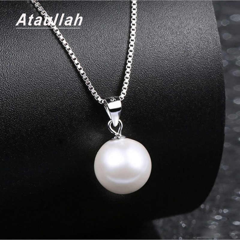 Ataullah prawdziwa naturalna perła słodkowodna naszyjnik srebro 925 biżuteria wisiorek naszyjniki dla kobiety Party prezent NW093