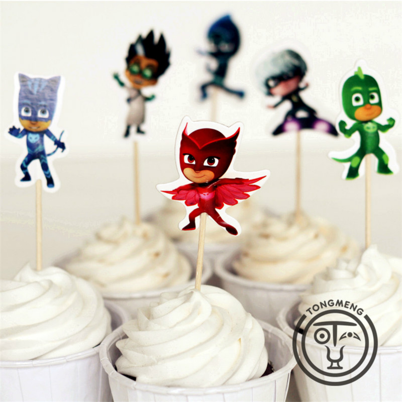 24pcs Pj Mask Birthday Party Decoration Supplies Figure Cake Card Fruit Plug-in Children Birthday Party Kids Gifts P11