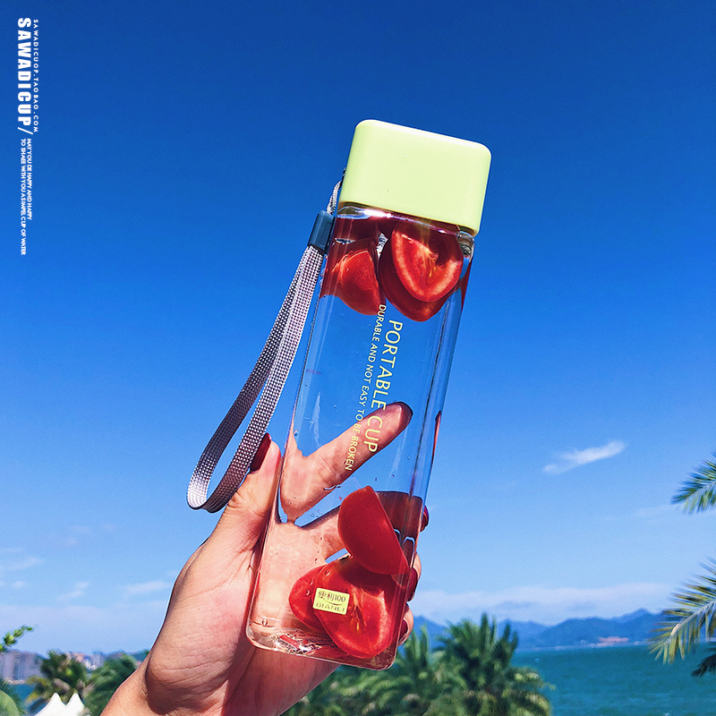 H53c0f04889e64d678089725d12fe21ceG 500ml Cute New Square Tea Milk Fruit Water Cup for Water Bottles Drink with Rope Transparent Sport Korean Style Heat Resistant