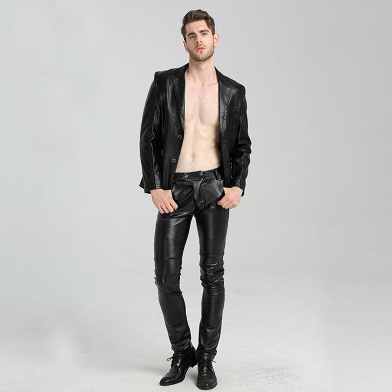 Men's Skinny Biker Leather Pants  1