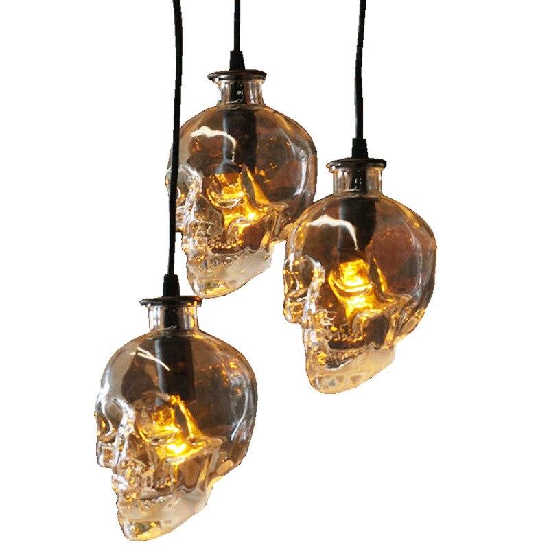 Moderne cristal crâne pendentif LED lumières Vintage Bar décor Lustre suspendu lampe Restaurant éclairage industriel Luminaire