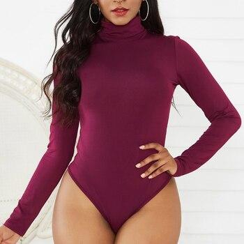 12 Colors Women Mock Turtle Neck Top Skinny Leotard Bodysuit Long Sleeve Bodycon Romper Solid Thong Stretchy Basic Turtleneck XL 9