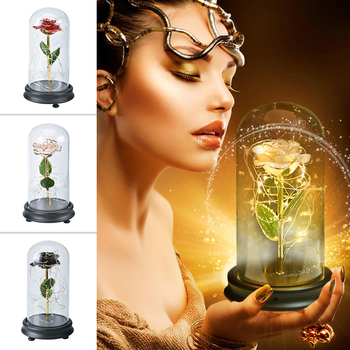 2020 Beauty and The Beast 24K Gold Dipped Rose Flower LED Light Artificial Flower In Glass Dome Wedding Valentine Christmas Gift