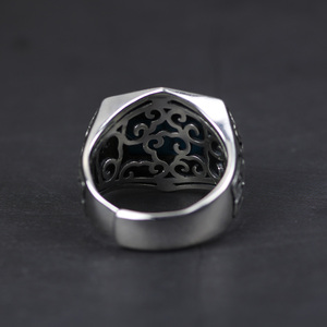 Image 4 - Genuine 925 Sterling Silver Rings For Men Inlaid Natural Stone Mens Ring Polygon Vintage Design Adjustable Turkey Jewelry
