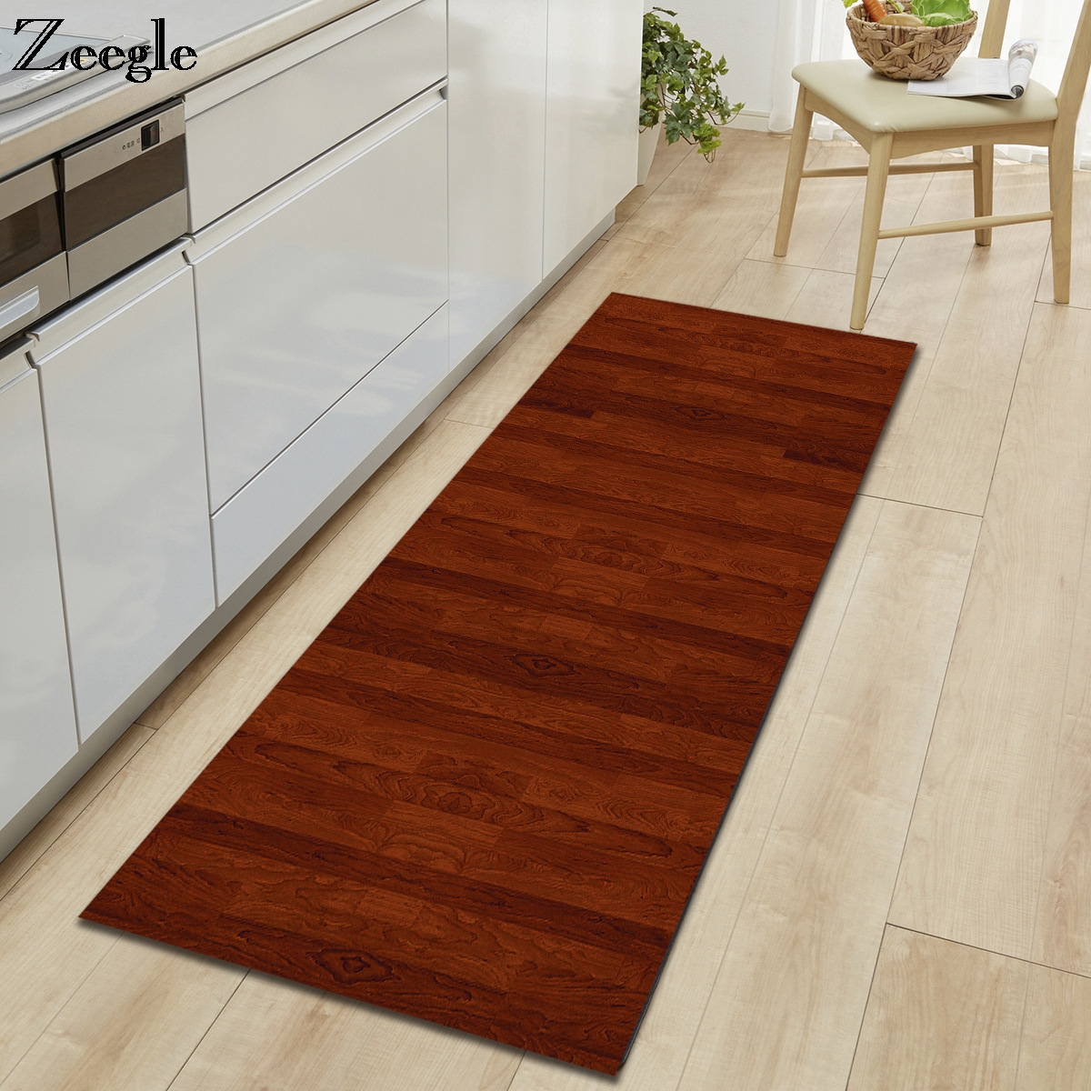 Zeegle Wood Printed Area Rug For Living Room Anti-slip Carpet For Children Bedroom Carpet Bedside Rugs Absorbent Kitchen Mats