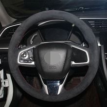 Hand Sew Suede Black Car Steering Wheel Cover For Honda Civic Civic 10 2016 2019 CRV CR V 2017 2019 Clarity