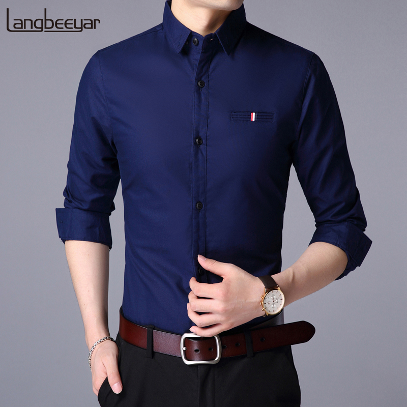 2019 Fall New Fashion Brand Designer Shirt Man Dress Shirt Long Sleeve Slim Fit Button Down 100% Cotton Casual Mens Clothing