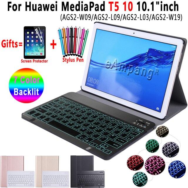 מקלדת עם תאורה אחורית עבור Huawei MediaPad T5 10 10.1 מקלדת מקרה AGS2 W09 AGS2 L09 AGS2 L03 Bluetooth מקלדת עור כיסוי אופן בסיסי