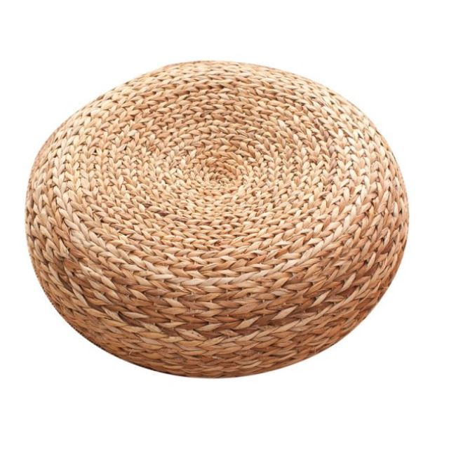 Furniture Rush Grass Footstool Round Rattan Stool Solid wood round stool creative home change shoes stool -