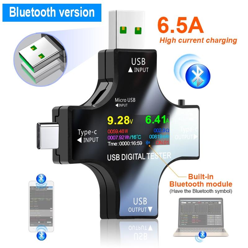 USB-тестер, беспроводной Bluetooth Вольтметр постоянного тока, напряжение, устройство для измерения напряжения, вольт, амперметр, детектор, индик...