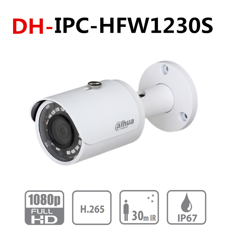 Original Dahua IPC HFW1230S 2MP Bullet IP Camera POE H.265 IR 30m IP67 Outdoor Network Camera HFW1230S For Home Security-in Surveillance Cameras from Security & Protection
