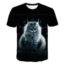 Siyah ve beyaz kedi T-shirt sevimli kedi bask 3D t-Shirt hayvan kedi baskı elenceli kedi gmlek T-shirt yaz rahat kadn st T-shirt
