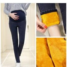 Теплые плотные джинсовые штаны для беременных, Зимние флисовые джинсы для беременных женщин, бархатные брюки для беременных размера плюс 3XL