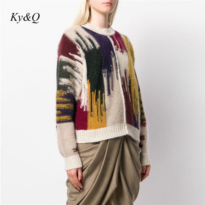 2020 Winter Brand Designer Luxury Pullover Christmas Fashion Women Loose Mohair Rainbow Striped Sweater Warm Clothes Tops Jumper Pullovers Aliexpress
