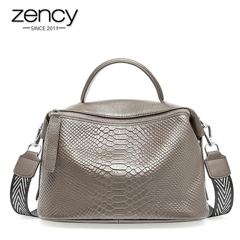 Zency Crocodile Pattern Women Tote Handbag Made Of Genuine Leather Daily Casual Crossbody Shoulder Bag For Lady Black Grey