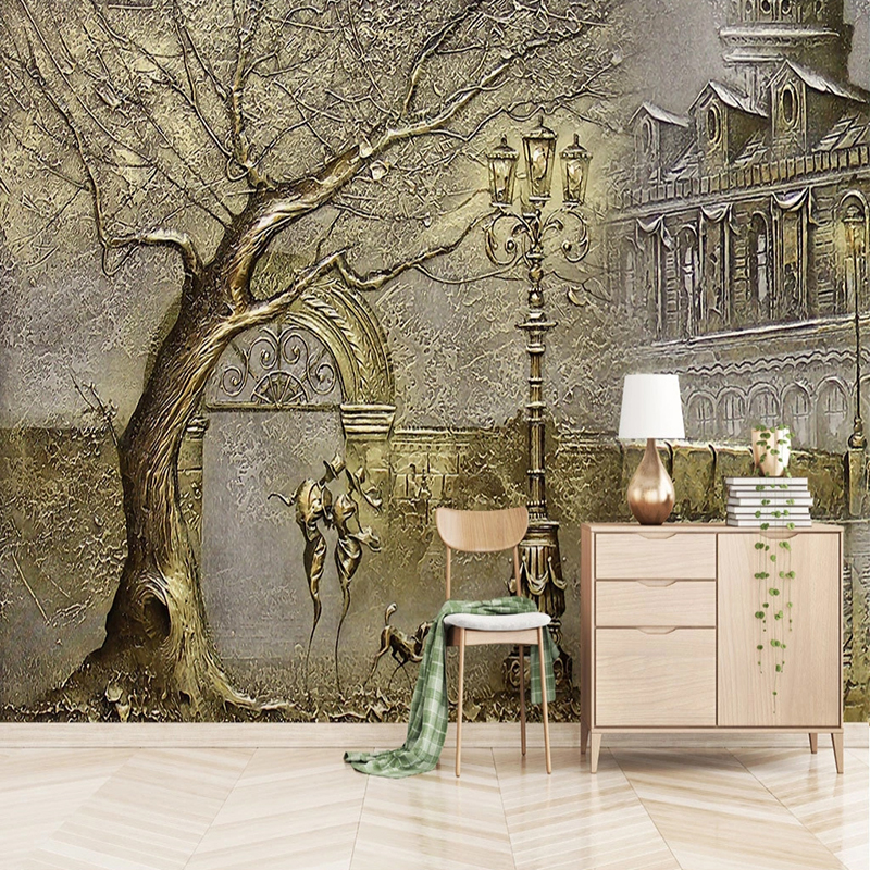 Custom Mural Wallpaper European Style 3D Stereo Golden Tree Street View Figure Fresco Living Room Bedroom Luxury Decor Wallpaper