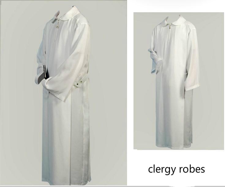 White Christian Clergy Robe Priest Chasuble Catholic Toga Deacon Disfrases Para Iglesia Priest White Gown Church Utensils