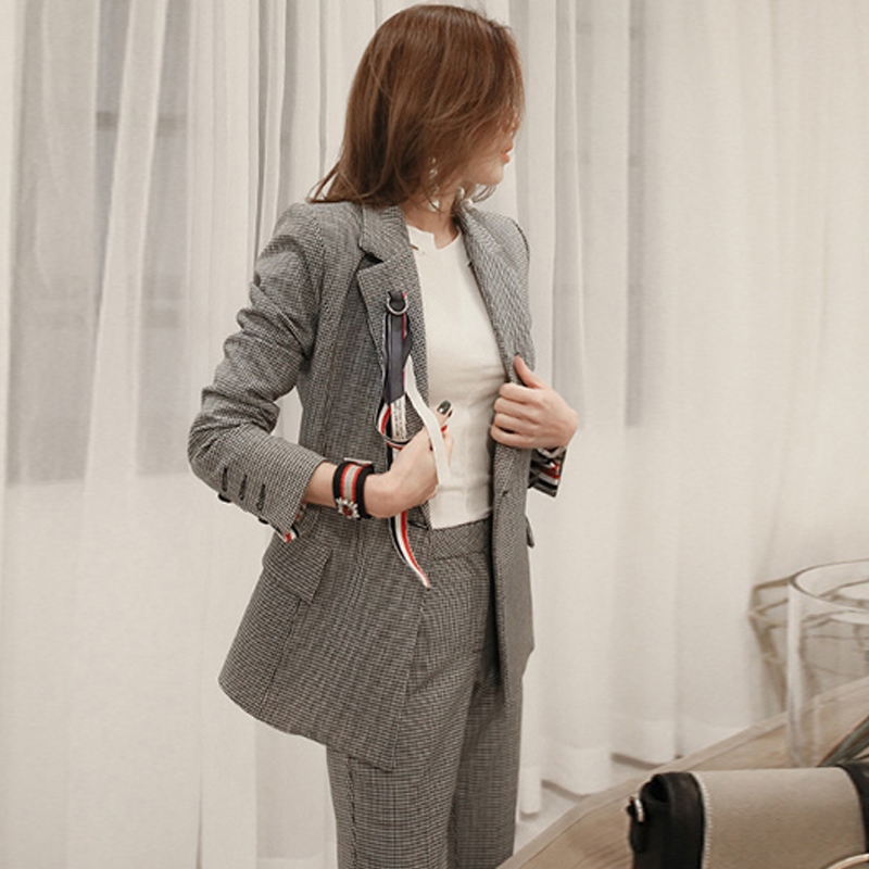 Two Piece Set Blazer And Long Pants Office Women Gray Plaid Elegant Long Sleeve Houndstooth Double Breasted Notched Collar Pants