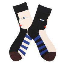 цена на Contrast Color Strip Socks Face Pattern Casual Style Hosiery for Men Women