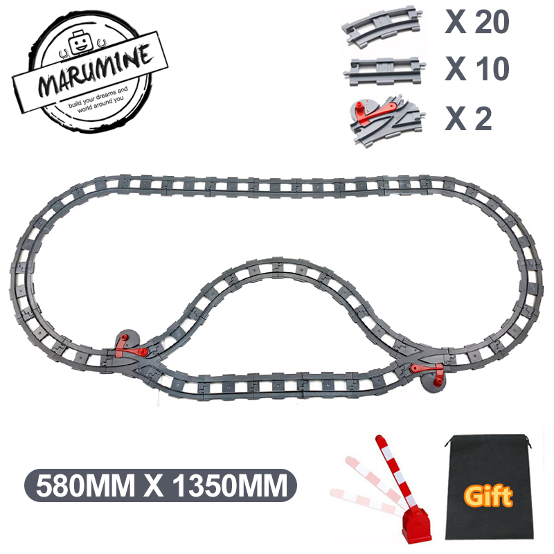 Marumine Blocks Toy Duplo Train Track Crossover Parts Railway Switch Building Bricks Gift For Children