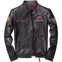 2019 Vintage Brown Men Slim Fit Motorcycle Leather Jacket Plus Size XXXXL Genuine Cowhide Spring Biker's Coat FREE SHIPPING