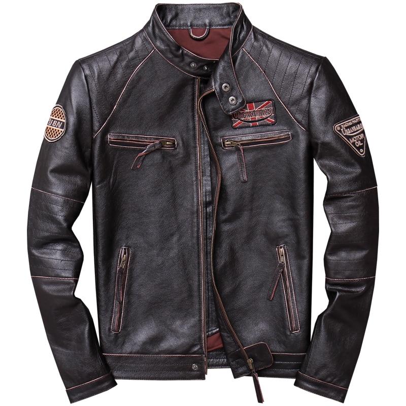 2019 Vintage marron hommes Slim Fit moto en cuir veste grande taille XXXXL véritable peau de vache printemps Biker manteau livraison gratuite