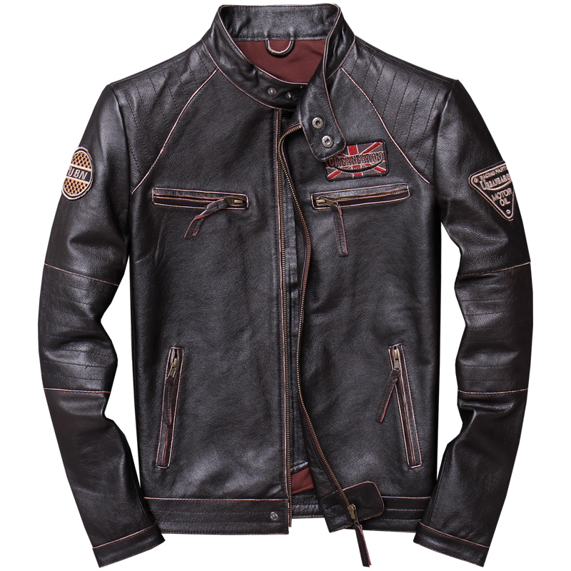 2020 Vintage Brown Men Slim Fit Motorcycle Leather Jacket Plus Size XXXXL Genuine Cowhide Spring Biker's Coat FREE SHIPPING
