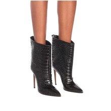 Новые Брендовые женские ботинки; Модные ботильоны на очень высоком каблуке; осенние ботинки из искусственной кожи с острым носком; зимние женские ботинки до середины икры