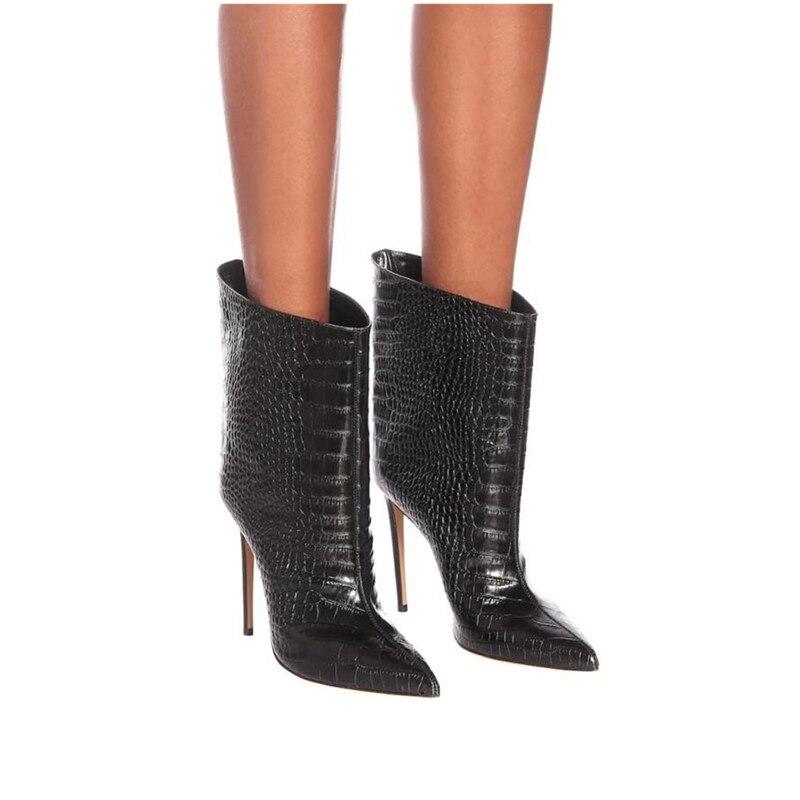 2019 nouvelle marque femmes bottes mode Super talons hauts bottines Faux cuir automne bout pointu bottes hiver femme veau bottes