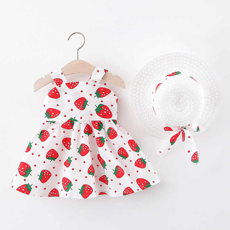 Gadis Gaun 2020 Gaya Musim Panas Baru dengan Topi Strawberry Yang Baru Lahir Bayi Perempuan Pakaian Bayi Kapas Busur Gaun Bayi Gadis Pakaian