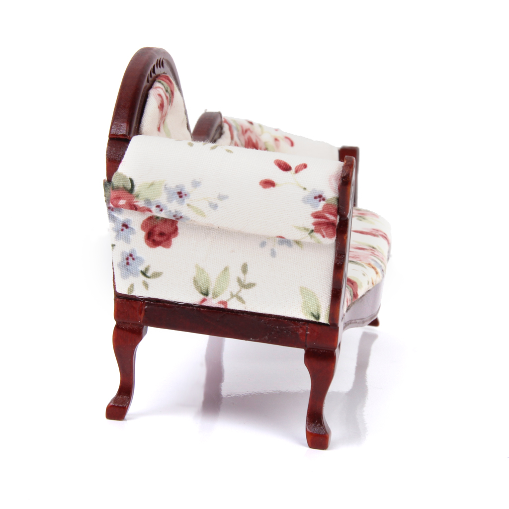 Image 5 - Dollhouse European Floral Recliner Miniatures, Wooden Upholstered Settee Armchair, 1/12 Dollhouse Life Scene OrnamentFurniture Toys   -