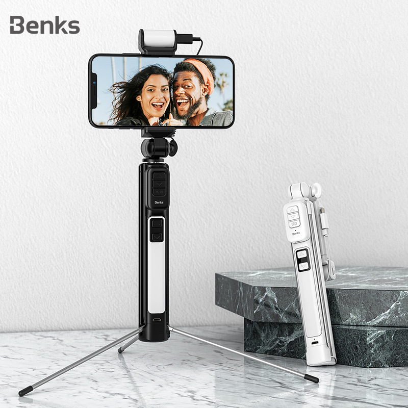 Benks New Wireless Bluetooth Selfie Stick Tripod Extendable With Shutter Button Remote Control Universal For iPhone 11 XR Xiaomi