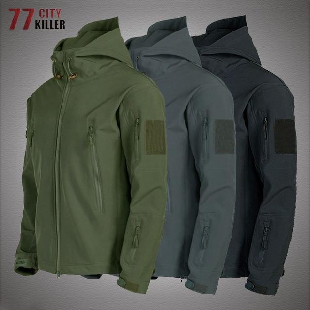 Military Shark Skin Soft Shell Jackets Men Tactical Windproof Waterproof jacket men Army Combat Jackets Mens Hooded Bomber Coats 1