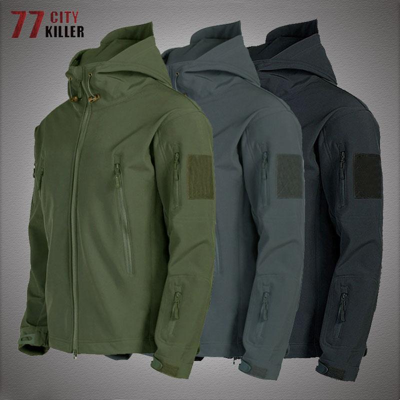 Military Shark Skin Soft Shell Jackets Men Tactical Windproof Waterproof jacket men Army Combat Jackets Mens Hooded Bomber Coats