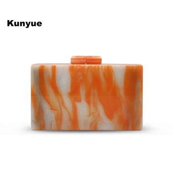20Fashion women wallet vintage marble orange acrylic clutch purse causual cute dinner evening bag tr