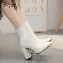 BYQDY Autumn Winter High Heels Fetish Sock Boots Leather Block White Ankle Scarpins Chunky Shoes Mothers Gift